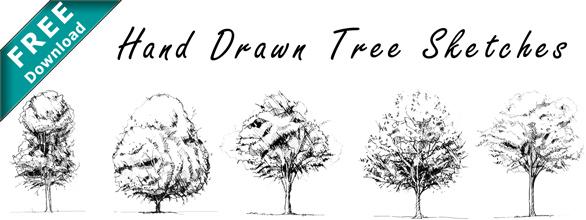 Handgezeichnete_Bäume_Skizzen_Als_Kostenloser_Download