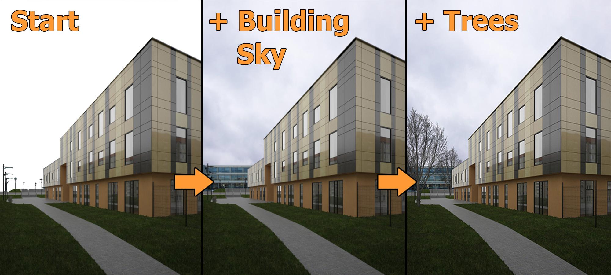 3ds max photoshop tutorial architektur au enszene mit - Renderings architektur ...