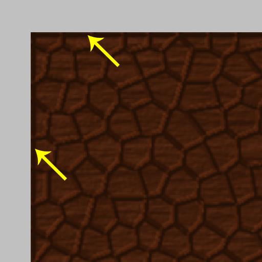 Dunkler Rand an der Textur bedingt durch Beleuchtungseffekt