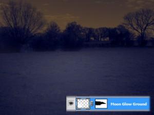 Mondschein auf dem Boden mit maskiertem Horizont