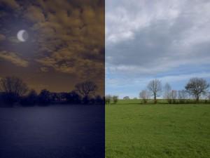 Vorher-Nachher Vergleich der Tag zu Nach Umwandlung in Photoshop